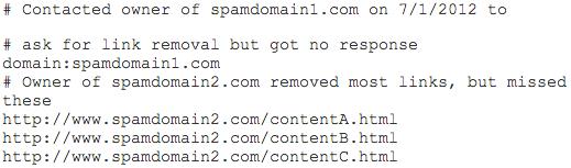 Google Disavow Link Tool file